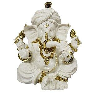Estátua de Ganesha Sentado de Resina Plástica Branca com Dourado 15cm