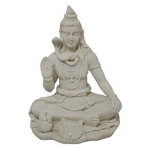 Estátua de Shiva com Base de Resina Plástica Branca 20cm