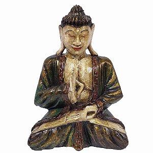 Estátua Buda de Madeira Balsa Pintura Antik Mudra Dar e Receber 25cm