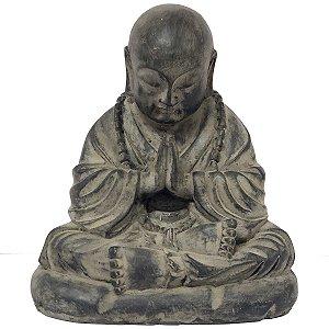 Estátua Monge Mudra Oracão de Resina Cinza Chumbo 10.5cm