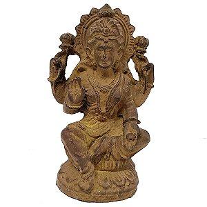 Estátua Lakshmi com Base de Resina Marrom 11cm
