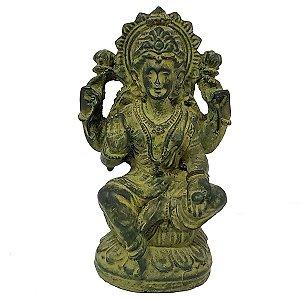 Estátua Lakshmi com Base de Resina Verde 11cm