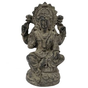 Estátua Lakshmi com Base de Resina Cinza Chumbo 11cm