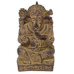 Estátua de Ganesha com Base de Resina Marrom 14cm
