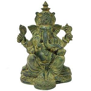 Estátua de Ganesha Sentado Resina Verde 26cm