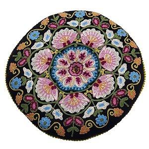 Almofada para Meditação Bordada Redonda Preta com Colorido 40cm