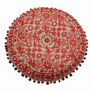 Almofada para Meditação Bordada Redonda Bege e Vermelho 40cm