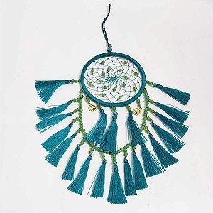Filtro dos Sonhos de Seda e Miçangas Azul Turquesa 8cm