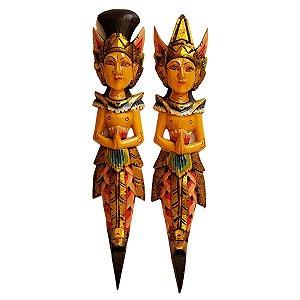Escultura Rama e Sita de Madeira Balsa Tradicional 50cm