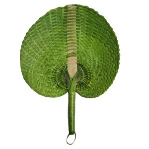 Leque Abano de Palha Verde 28cm