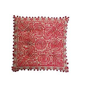 Almofada Futon Bordada Quadrada Bege e Vermelho 40cmx40cm