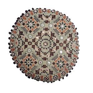 Almofada para Meditação Bordada Redonda Bege e Coral 40cm