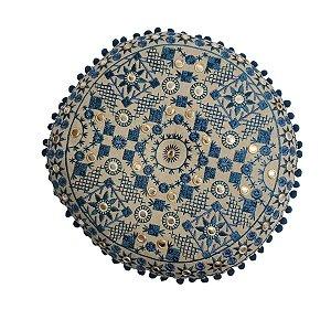 Almofada para Meditação Bordada Redonda Bege e Azul 40cm