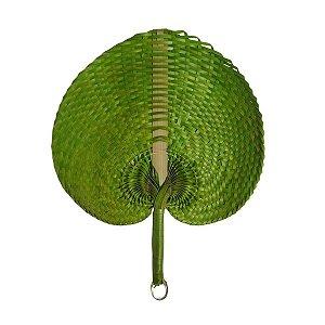 Leque Abano de Palha Verde 35cm