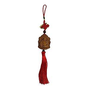 Móbile Buda Hotei de Madeira e Tessel Vermelho (Modelo 2) 34cm