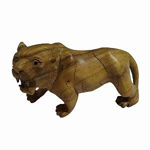 Escultura Tigre Madeira Suar 20cm
