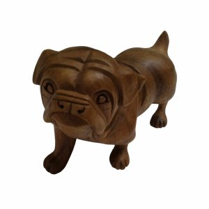 Escultura Bulldog Madeira Suar 14cm