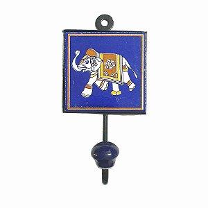 Gancho Unitário Cerâmica Quadrado Elefante (Modelo 1)