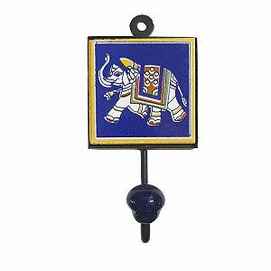 Gancho Unitário Cerâmica Quadrado Elefante (Modelo 2)