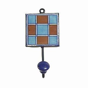Gancho Unitário Cerâmica Quadrado Xadrez