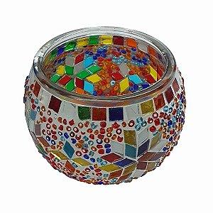 Porta Vela de Vidro Redondo Mosaico Turco (Modelo 2) 10cm
