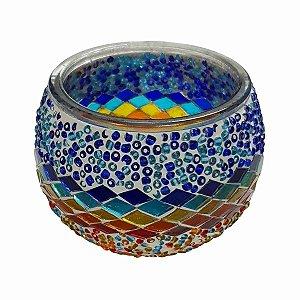 Porta Vela de Vidro Redondo Mosaico Turco (Modelo 3) 10cm