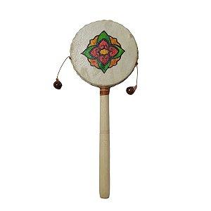 Tamboran Cru Flor de Lótus Aberta Madeira e Couro Sint. 20cm