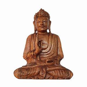 Estátua de Buda Sidarta de Madeira Suar Mudra Proteção 25cm