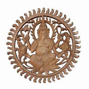 Mandala Ganesha Madeira Suar 30cm