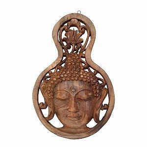 Entalhe Buda Gota Madeira Suar 30cm