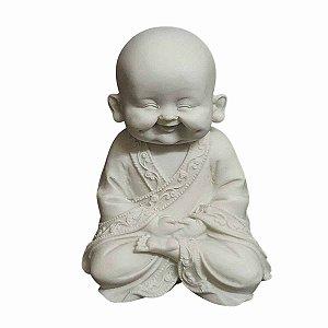 Estátua de Monge Sorrindo Mudra Meditação Pó de Mármore 15cm