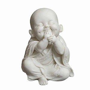 Estátua de Monge Sábio Sorrindo Pó de Mármore 15cm