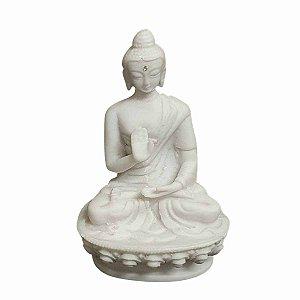 Estátua de Buda Mudra Dar e Receber Pó de Mármore 10,5cm