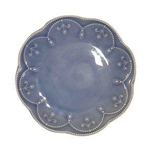 Prato Suspenso p/ Bolos/Doces Redondo de Cerâmica Azul 20cm