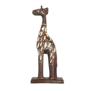 Girafa Entalhada de Madeira Balsa 40cm