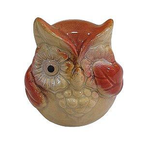 Coruja de Cerâmica Olho Tampado Vermelha 8cm