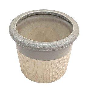 Vaso de Cerâmica Texturizado com Cinza 13cm