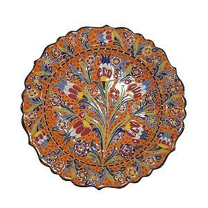 Prato Turco Pintado de Cerâmica (Modelo 5) 30cm