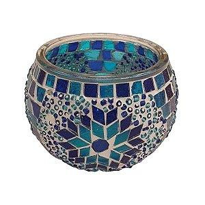 Porta Vela de Vidro Redondo Mosaico Turco (Modelo 4) 10cm