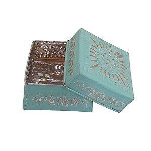 Caixa Decorativa Quadrada de Alumínio Verde 12cm