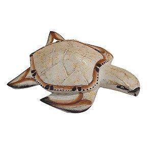 Tartaruga Decorativa Madeira Balsa Branca e Marrom 16cm