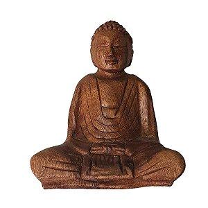 Estátua de Buda Sidarta de Madeira Suar Mudra Meditação 15cm