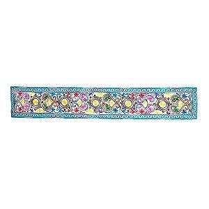 Panô Indiano Bordado de Flores Azul 100% Algodão (modelo 9)