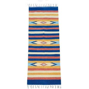 Passadeira Kilim 7 Cores 100% Algodão Azul Royal 60cmx180cm