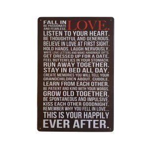 Placa Decorativa de Metal Fall in Love 20cmx30cm