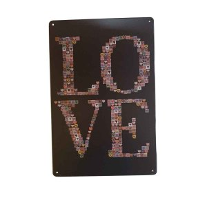 Placa Decorativa de Metal LOVE 20cmx30cm