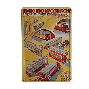Placa Decorativa de Metal Transporte 20cmx30cm