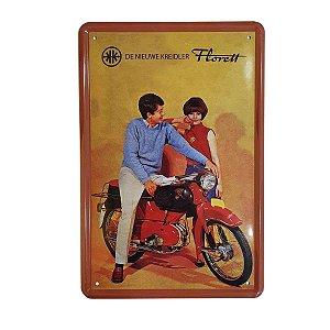 Placa Decorativa de Metal Moto 20cmx30cm