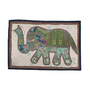 Panô Indiano Bordado Elefante Verde e Salmão 100% Algodão