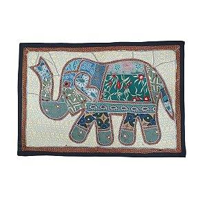 Panô Indiano Bordado Elefante Verde 100% Algodão